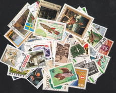 Large stamps in the world, 50 different kinds of animals, plants, buildings, figures, sports, famous paintings