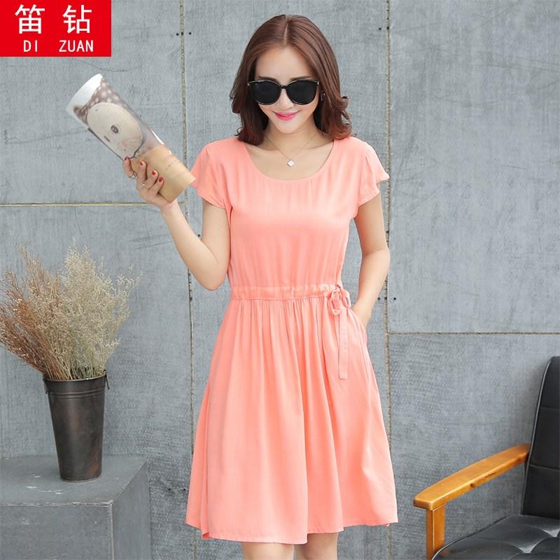 2018春夏季新款韩版女装短袖修身系带抽绳中长款连衣裙收腰裙