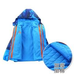 男童加棉外套中大童防风加绒加厚秋冬装儿童冲锋衣可拆卸三合一