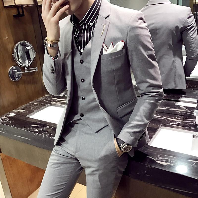 秋季西服男英伦风韩版修身发型师西服套装男西装三件套帅气外套潮