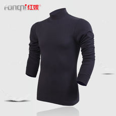 Red Ni warm underwear cotton cotton middle and old aged XL men's high collar thin line clothing autumn clothing single piece