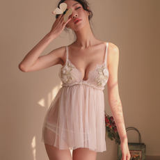 Auntie with the same paragraph high-end aesthetic French court retro private room pajamas lace photo underwear sexy home service
