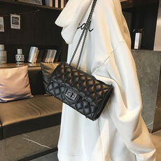 Leather handbags new small fragrance leather rhombic chain bag
