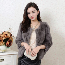 2017 autumn and winter new real rabbit fur coat female short round neck ladies Slim slim wild plus cotton promotion
