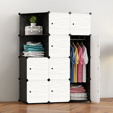 Simple Wardrobe Assembly Plastic Wardrobe Bedroom Space Dormitory Imitation Solid Wood Fabric Simple Modern Economy Cabinet