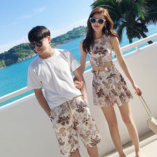 New retro couple swimwear female split skirt swimsuit cover belly seaside hot spring resort beach lovers