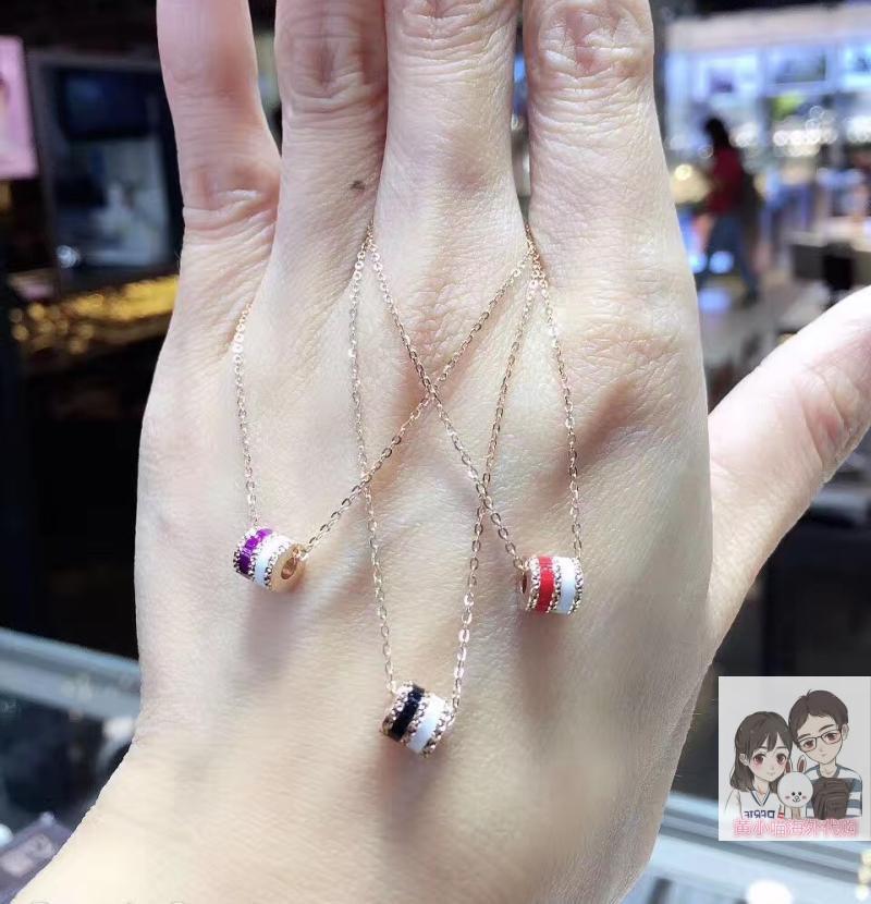 香港六福珠宝专柜代购 18K金彩色珐琅小蛮腰套链项链