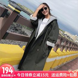 2018春秋季新款韩版宽松学生假两件拼接风衣女中长款过膝百搭外套
