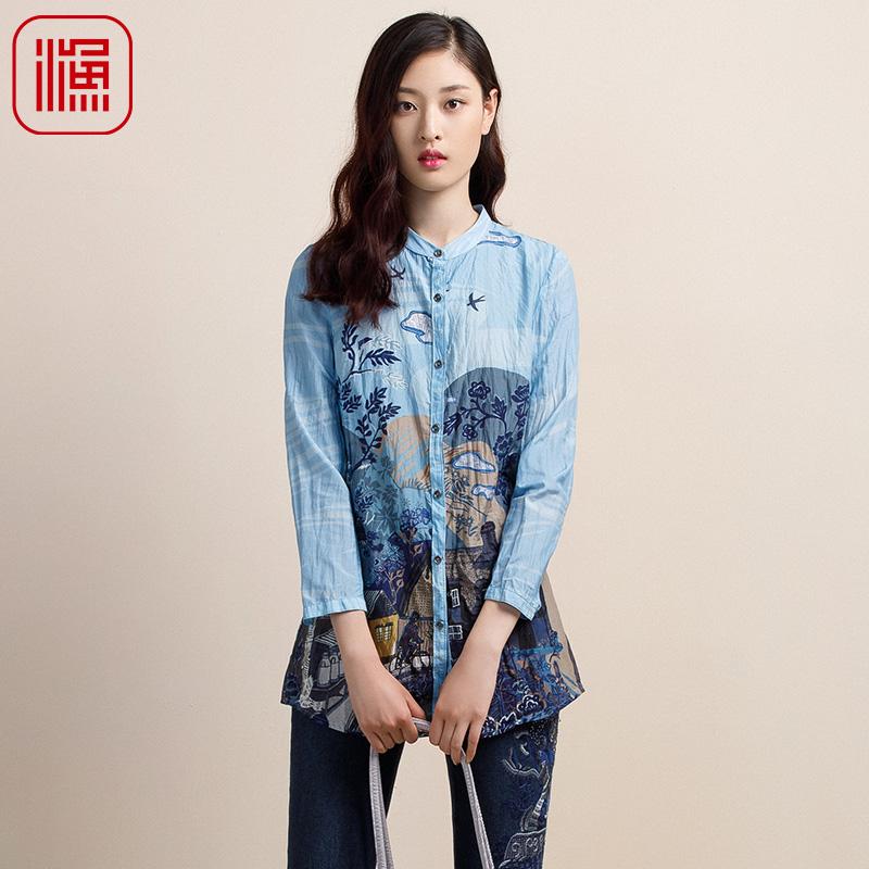 渔牌 2018秋装新款时尚薄款女装衬衣中长款印花立领衬衫