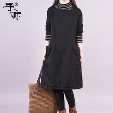The child also winter new product plus velvet thickening casual high collar fashion large size bottoming dress