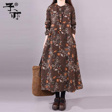 Son also 2019 early spring new loose fashion a-line casual pocket trendy print linen dress