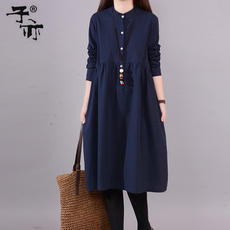 Son also 2019 Korean version of the spring new dress loose pocket 3 yards 3 color large size cotton and linen bottoming dress