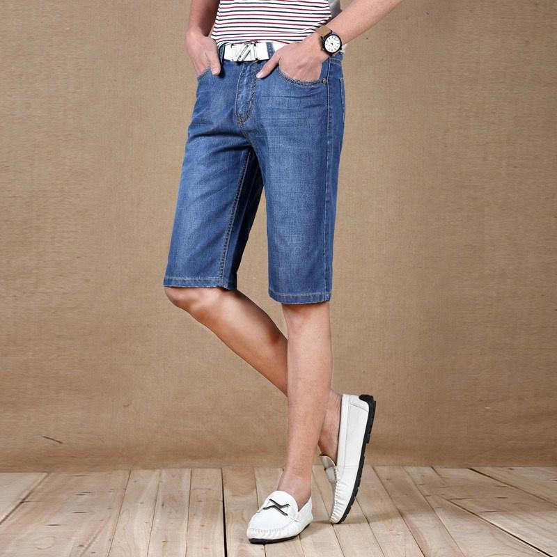 薄款男士牛仔短裤男直筒5分裤宽松牛仔裤男夏季五分裤休闲中裤