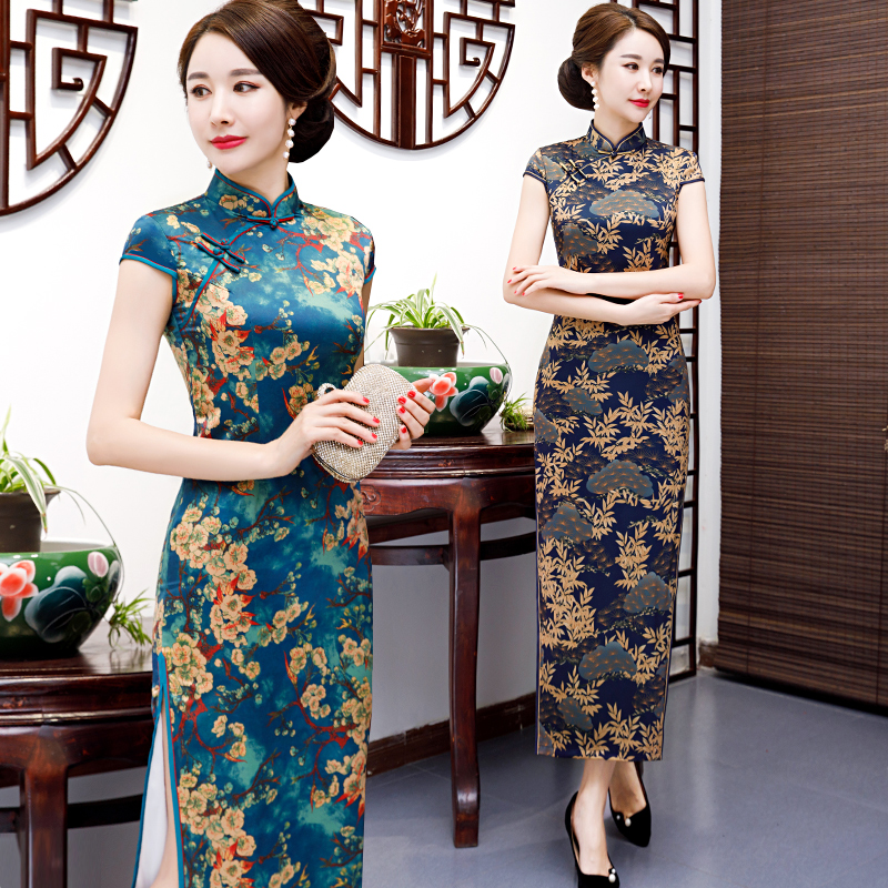 2019新款女日常长款修身中式旗袍端庄大气复古丝绸双层中国风礼服