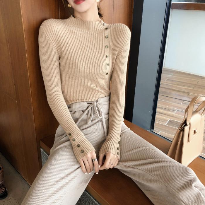 2018新款时尚韩版半高领显瘦针织衫修身长袖打底套头毛衣女上衣潮