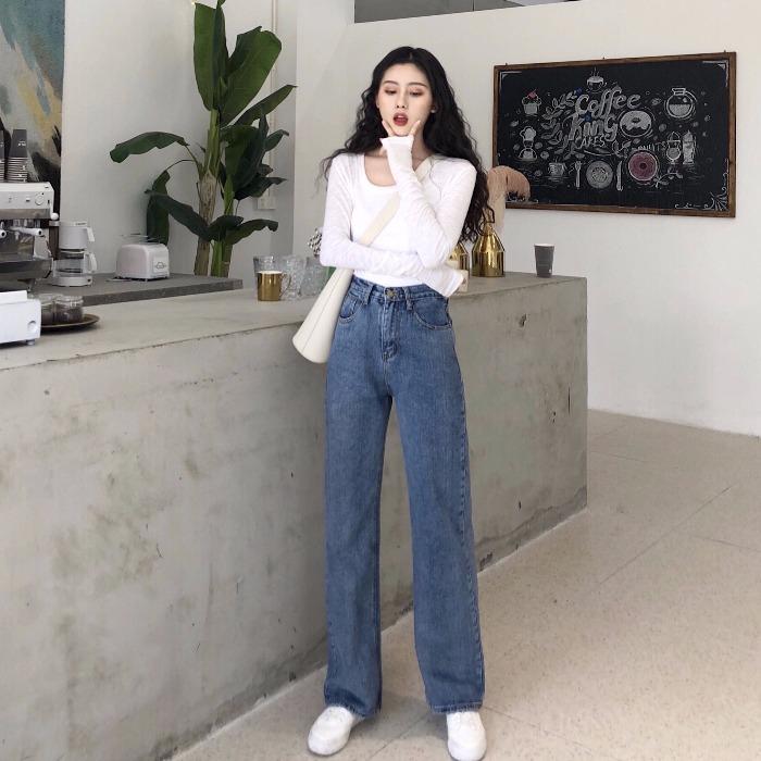 秋季韩版时尚chic早秋套装女两件款长袖T恤+高腰宽松牛仔直筒裤潮
