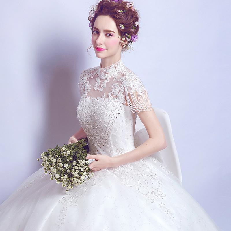 天使嫁衣 奢华蕾丝挂脖水晶花朵公主新娘修身齐地婚纱礼服2102