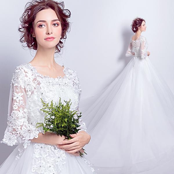 天使嫁衣 浪漫蕾丝喇叭袖 春季长袖新娘拖尾婚纱礼服6910