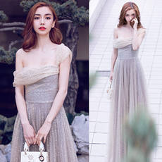 Angel Wedding Dress Star Sky Dress Star with Silver Birthday Dinner Annual Meeting Bridesmaid Performance Wedding Dress 6800t