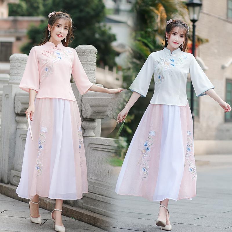 新款中国风文艺复古中袖立领时尚民族风修身绣花上衣+绣花半身裙