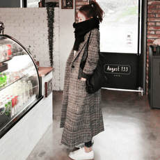 Anti-season clearance 2018 autumn and winter new Korean version of the thickened thousand bird plaid woolen coat long paragraph over the knee woolen coat