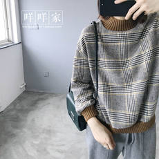 Super Van ~ retro wool plaid color knit wool in the high collar thick sweater women's autumn new sweater coat