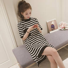 Pregnant women dress 2018 summer new short-sleeved striped pregnant women T-shirt embroidery long paragraph maternity dress tide
