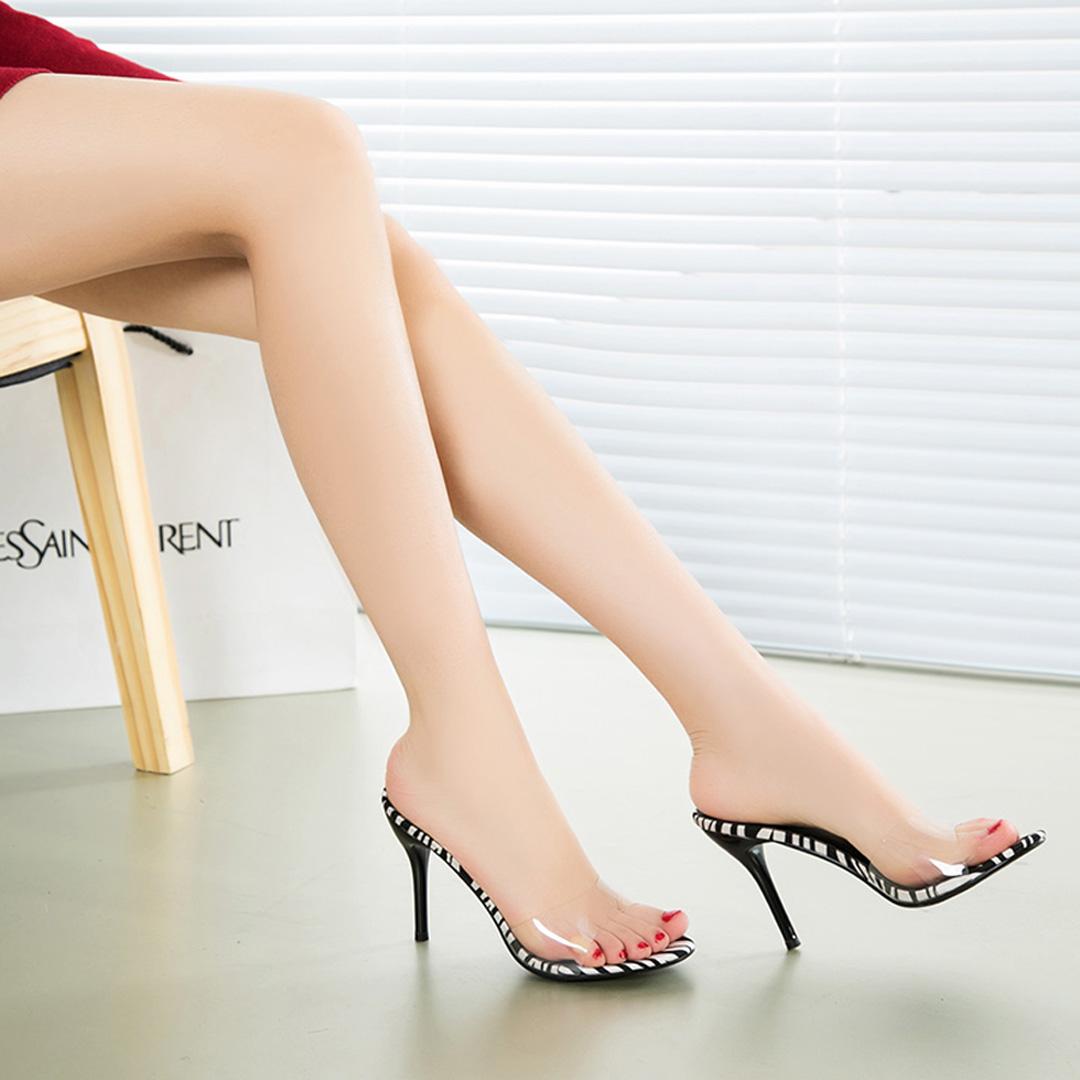 2018春夏新款一字拖韩版细跟凉拖鞋简约性感高跟鞋凉鞋透明女鞋潮