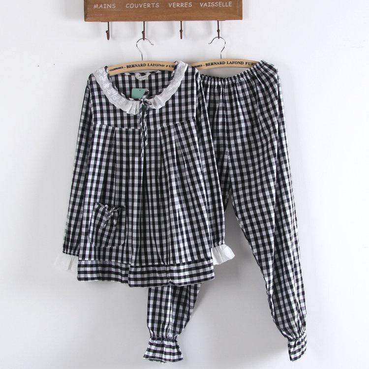 春夏季薄款长袖睡衣女生黑白格子梭织纯棉平纹布全棉布家居服套装