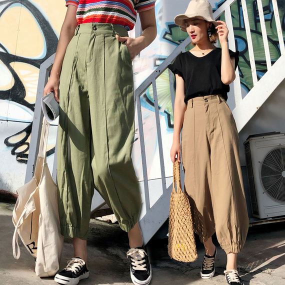 Hong Kong-flavored pants female students loose Korean ulzzang wild high waist harem pants female thin section casual nine pants
