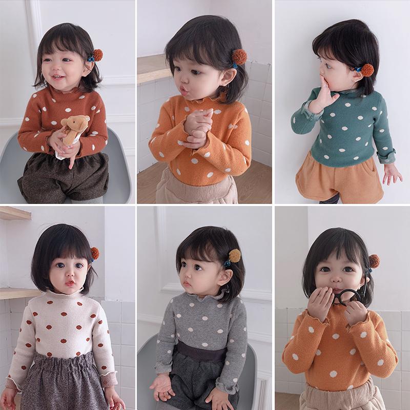 糖果爷爷女童秋冬季波点高领针织衫打底衫儿童女孩修身毛线衫上衣