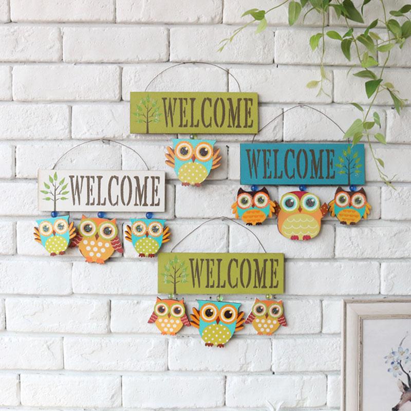 清新可爱猫头鹰欢迎牌挂饰家居公寓酒店咖啡馆墙面装饰小牌子壁式
