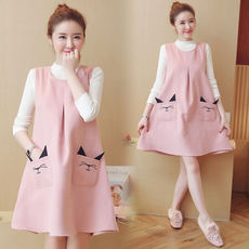 Anti-radiation maternity dress genuine computer strap belly pocket spring and autumn work pregnancy clothes radiation dress two-piece