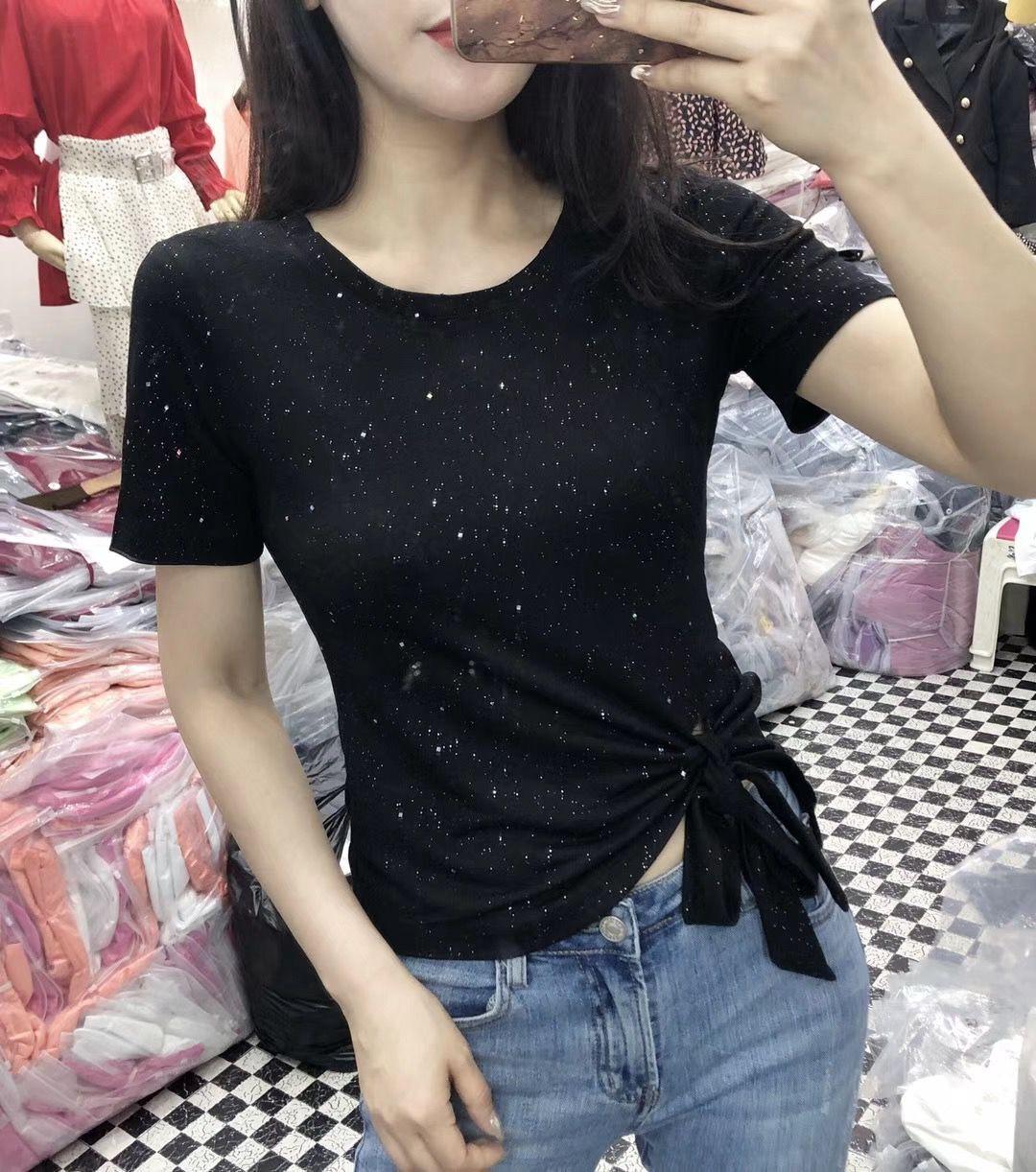 2019夏季新款韩版短袖圆领侧面绑带亮晶晶女T恤 百搭女打底衫上衣