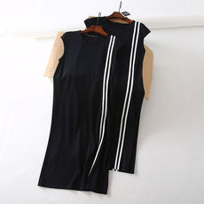 Europe and America Single Fashion Contrast Stripe Stitch Stretch Comfortable Loose Sleeveless Tank Dress DMQ806027