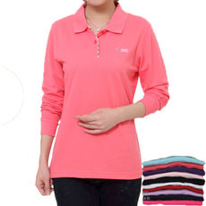 Crown Dragon Women's Polo Shirt Cotton Casual Mother Pack Middle-aged Middle-aged Lapel Sports Long Sleeve T-Shirt