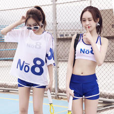 Hot spring bathing suit female split three-piece Korean conservative small chest gathered sports flat angle sunscreen student swimming