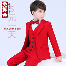 Children's host clothing rental boy's suit suit rental boy red dress catwalk costume