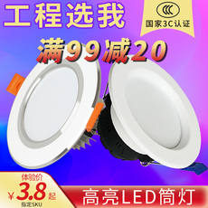 Led downlight embedded ceiling lamp living room hole lamp home hole lamp 3W simple lamp ceiling three-color spotlight barrel lamp