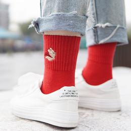 新年本命年红色男女踩小人袜子纯色全棉中筒学院风猪年结婚喜日系