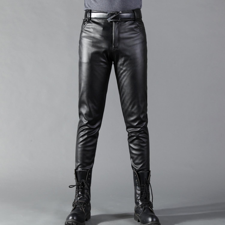 春夏季秋款韓版緊身修身皮褲男士小腳褲高彈力潮加絨青年摩托車圖片