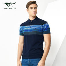 Seven wolves T-shirt 2018 summer men's fashion lapel stripes [silk cotton] short-sleeved T-shirt Polo shirt