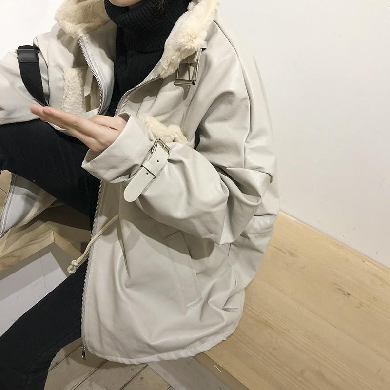 花田橱窗 ifashion外套女冬 夹克收腰宽松拼接毛绒中长款机车皮衣