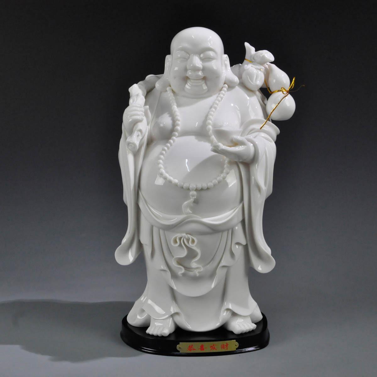 12寸恭喜发财布袋陶瓷弥勒佛像 笑口常开佛像 家居摆件 商务礼品