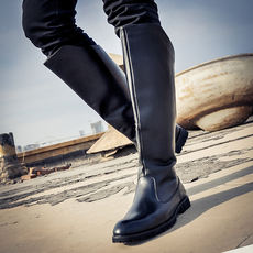Flag class Korean version of the trend of casual leather boots tide men's boots Martin boots long tube men's boots military boots 仗 high boots