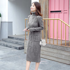 2018 autumn and winter new thick warm high-necked pullover knit wool dress in the long section slim sweater skirt female