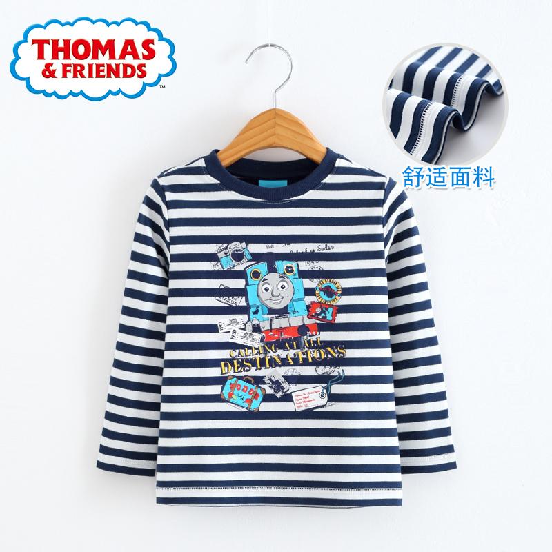 托马斯 童装2018秋款男中大童长袖上衣纯棉体恤儿童条纹潮t恤衫