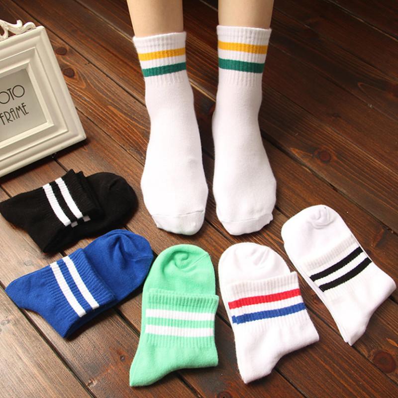 夏季新款学院风男袜运动双杠中筒袜子女韩版潮袜原宿纯棉女士短袜