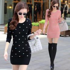 Autumn and winter Korean version of the long section Slim women's sweater sets of thin knit bottoming shirt bag hip dress female thickening