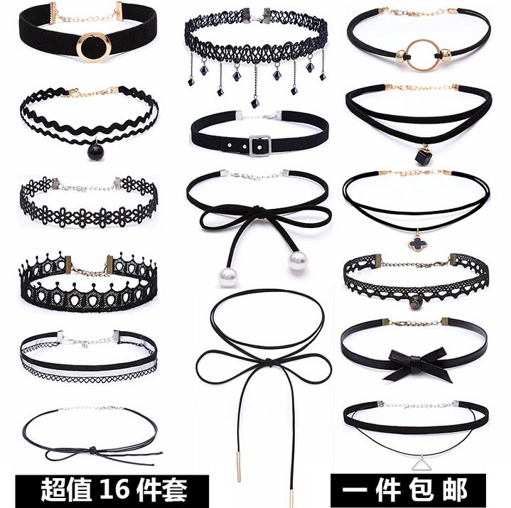 16条脖子饰品短款颈带项链锁骨链 女简约韩版学生森系项圈choker